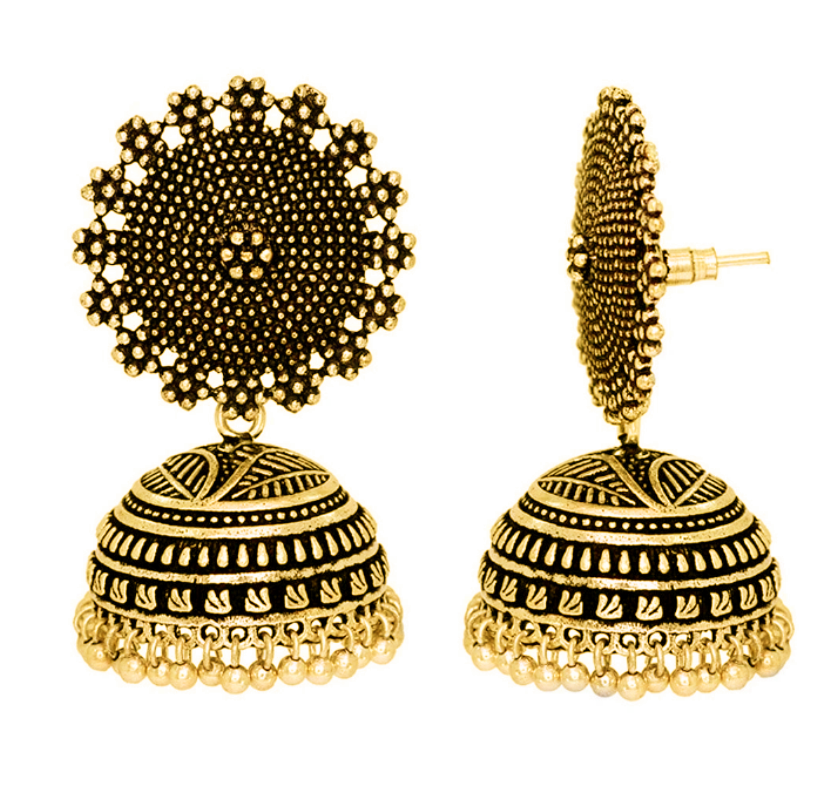 Jojo Fashion Jewelry Women Earring Indian Style Gold Jhumka