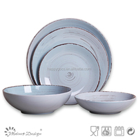 Cheap Blue Ceramic Dinner set big serving dinnerware wedding dinnerware factory