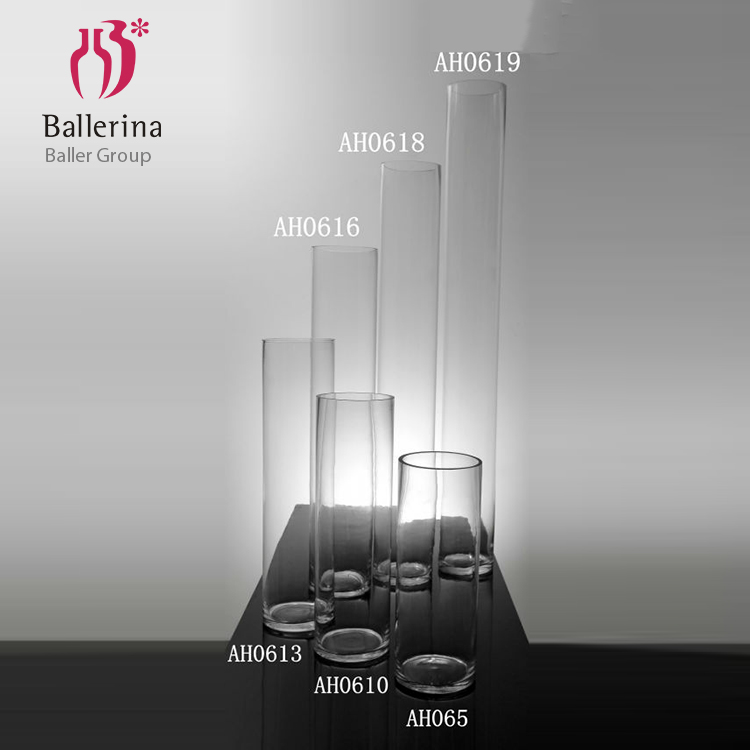 Hot Sale Tall Slim Clear Cylinder Glass Vase