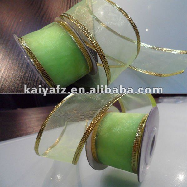 Crystal Gold Plastic Stamping Wired Organza Ribbon