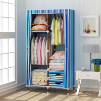 Heavy duty steel frame Oxford cloth cover portable wardrobe with shelves