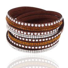 Dámský kožený náramek s ozdobnými kamínky v různých barvách z Aliexpress