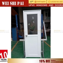 Modern Frosted Glass Pvc Plastic Interior Bathroom Door , Wholesale Romania Half Glass Interior Door