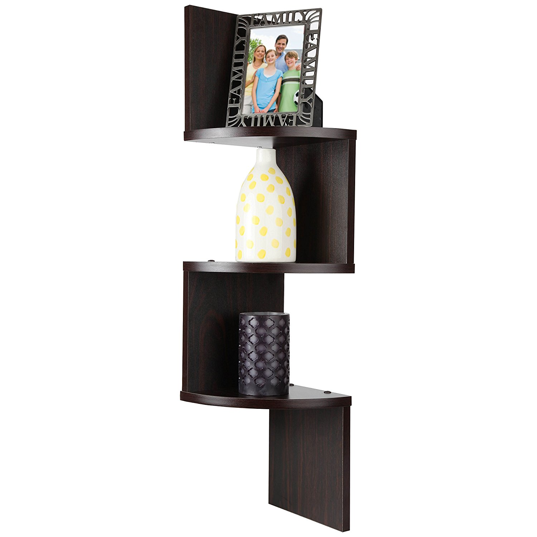 ARAD 3 Tier Walnut Corner Floating Wooden Shelf, 3 Tier Shelf, Floating Shelf, Shelf Organizer, Corner Shelf, Wall Shelf