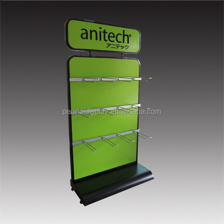 Custom double sided floor standing wooden slatwall hat display stand/wood hat display rack/cap store display stand
