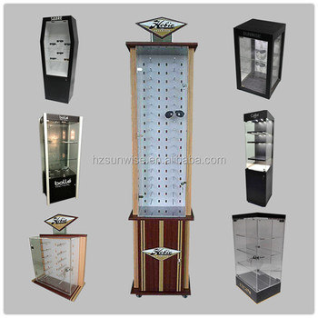 Custom design sunglass display,different styles wooden acrylic sunglass display with lock