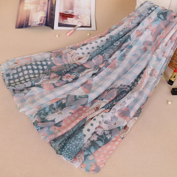 2018 Elegant Wholesale Pretty Viscose Printing Floral Scarf Women Hijab