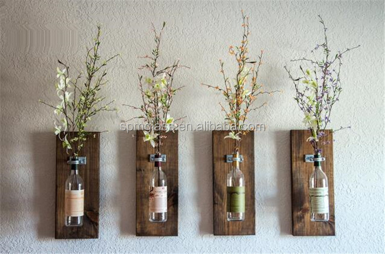 wooden wall hanging glass painting bottles vases as decoration