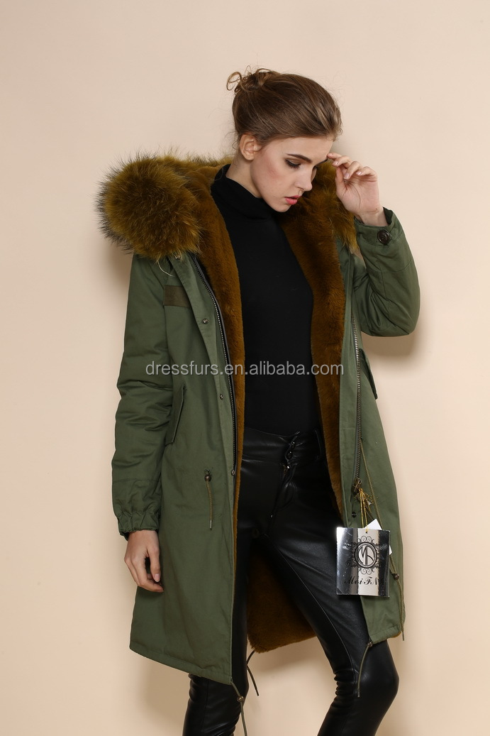 Wholesale thick faux fur lined long length army design green ...