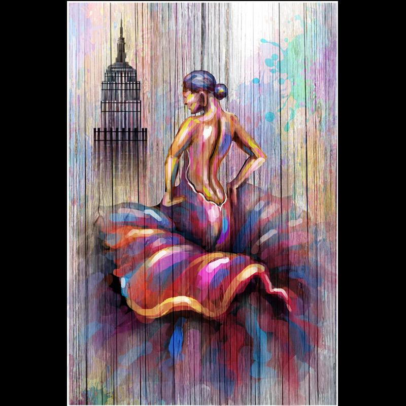 Wall Picture Woman Packing back Canvas Art Print Painting Poster for Home Dec