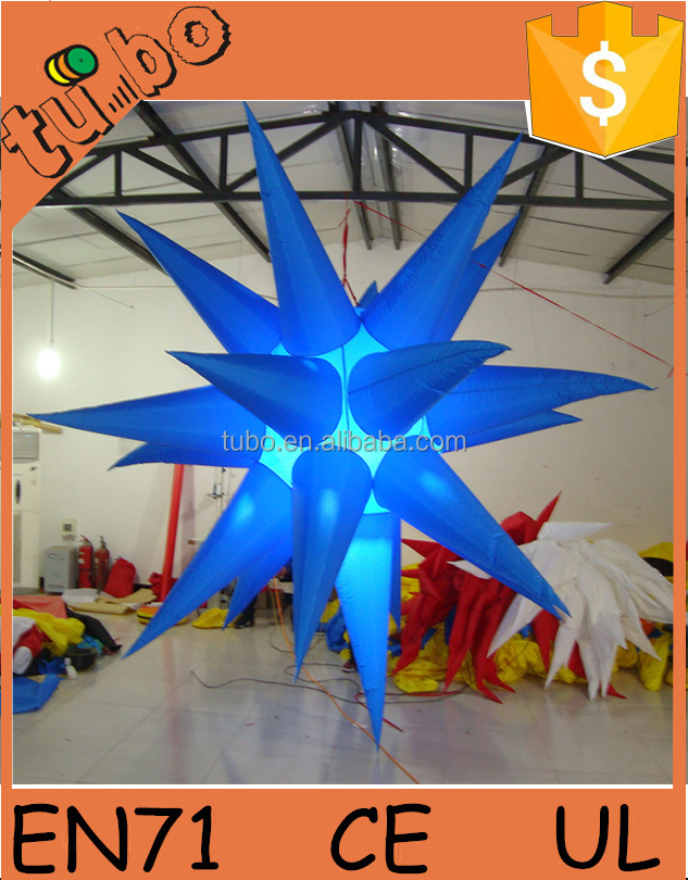 Nightclub Decoration attractive color changing inflatable large hanging led lighting star balloon with led light