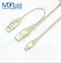 Transparent 2 in 1 USB 2.0 Dual Type A Male to Mini B 5pin Male Data Power PC HDD Y-Cable