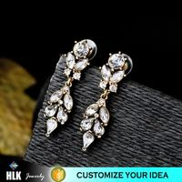 22kt gold antique turkish ottoman jewelry White Glass Stone Two Parts Earrings