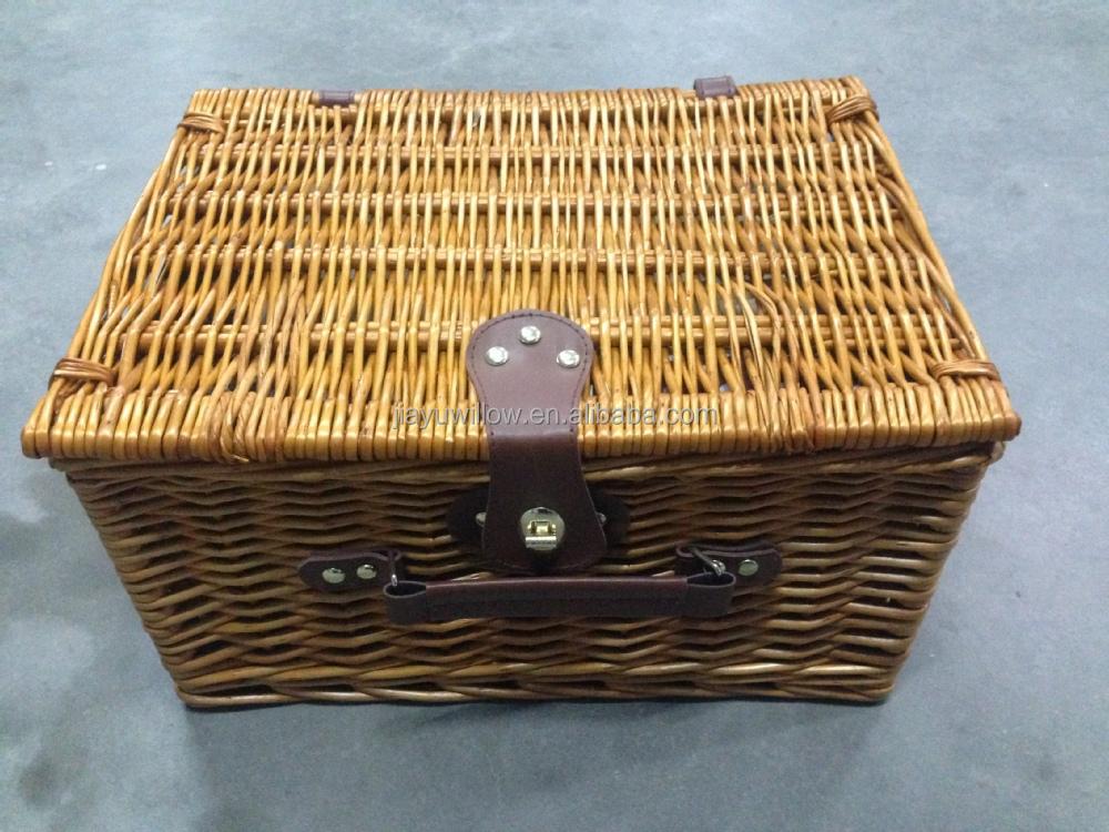 wholesale empty wicker hamper basket with wicker or leather handle