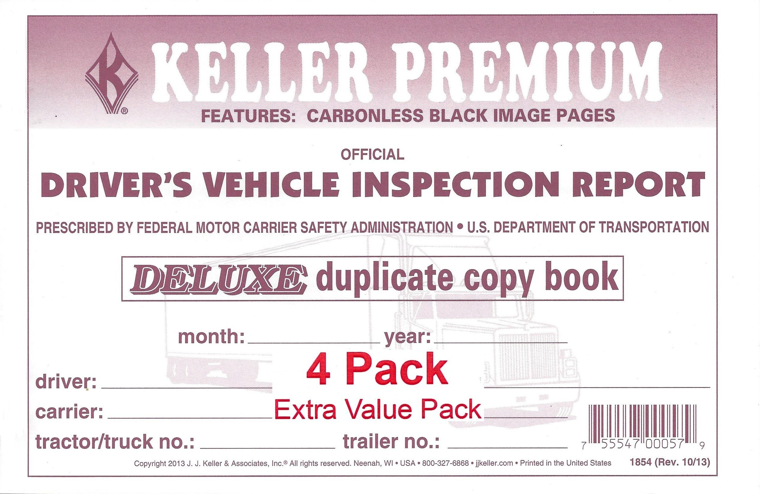 J. J. Keller 115B Detailed Drivers Vehicle Inspection Report, 2-Ply, Carbonless - Pack of 4
