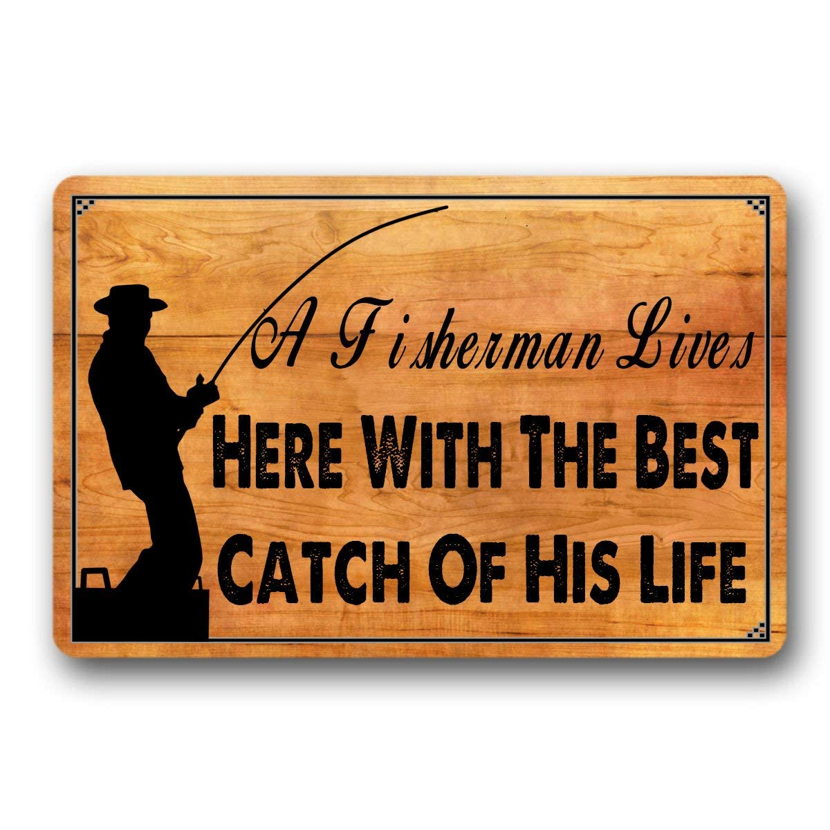 "Bernie Gresham Personal Design Doormat A Fisherman Lives Here with The Best Catch of His Life Entrance Mat Indoor Outdoor Mat Non-Woven Fabric Top 23.6""x15.7"""