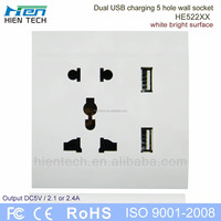 USB charging 5V 2.1A and 5V 2.4A USB wall socket portable power socket outlet