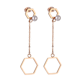 Wholesale Fashion Designs Simple Gold Long Drop Pearl Earring For
