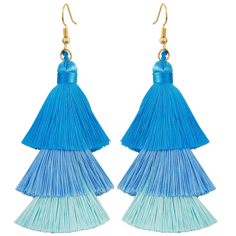 Nupuyai Bohemian Layered Tassel Earrings for Women, Tiered Thread Fringe Gradient Dangle Hook Earrings for Girls