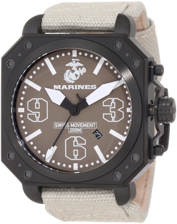 Wrist Armor Men's WA145 C4 Stainless Steel Analog Display Swiss Quartz Watch with Beige Canvas Strap