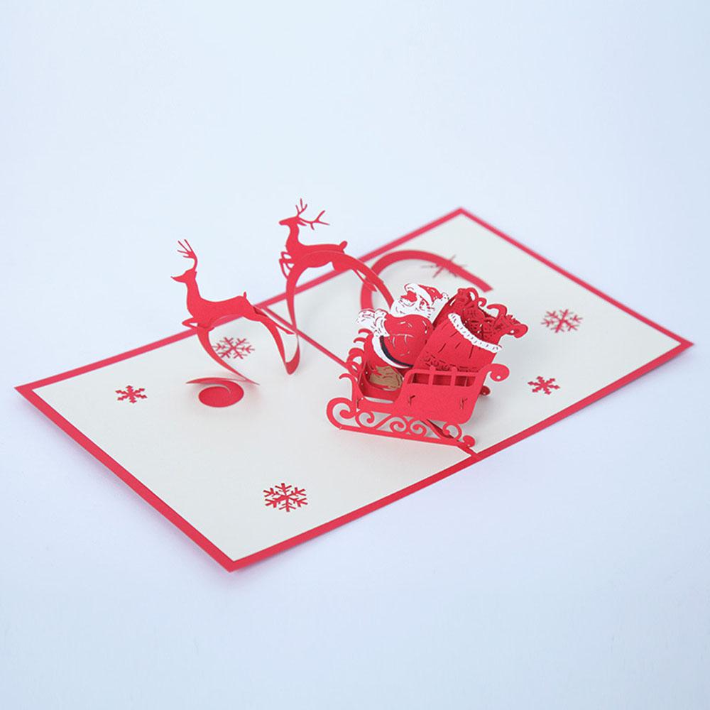 Zogift 크리스마스 인사말 카드 축제 3d 수제 카드 크래프트 종이 핸드 크리 에이 티브 3d 크리스마스 인사말 카드