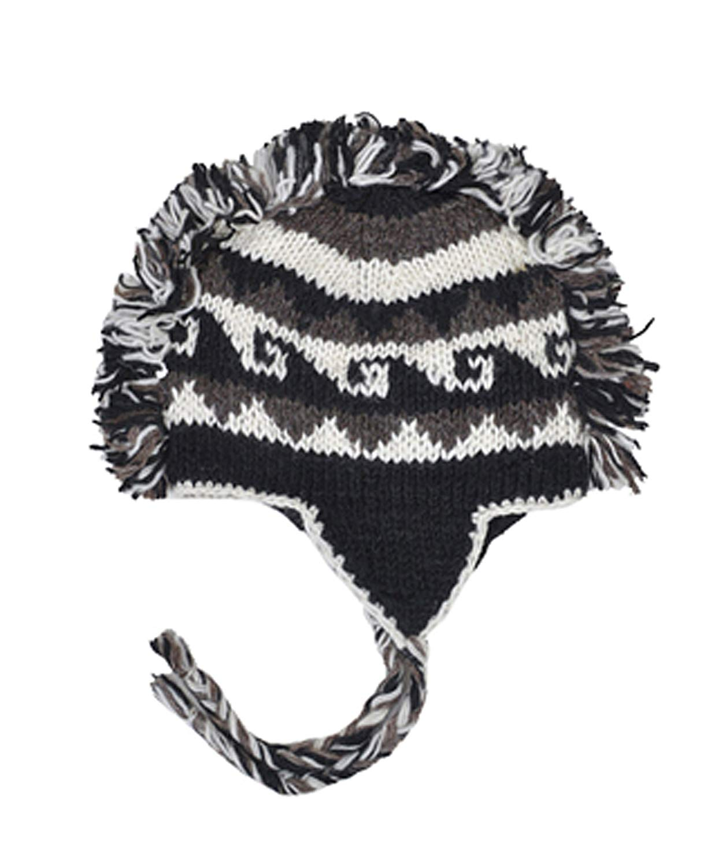 63ec171c08d Get Quotations · Grey Mohawk Hand-Knit 100% Wool Winter Hats with Fleece  Lining