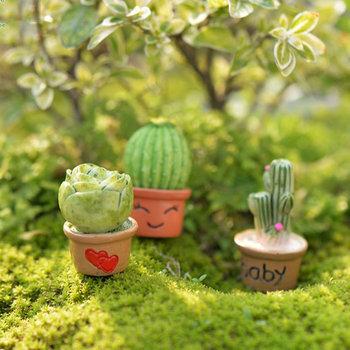 Resin Craft Cactus Flower Pot Terrarium Figurines Garden Decor