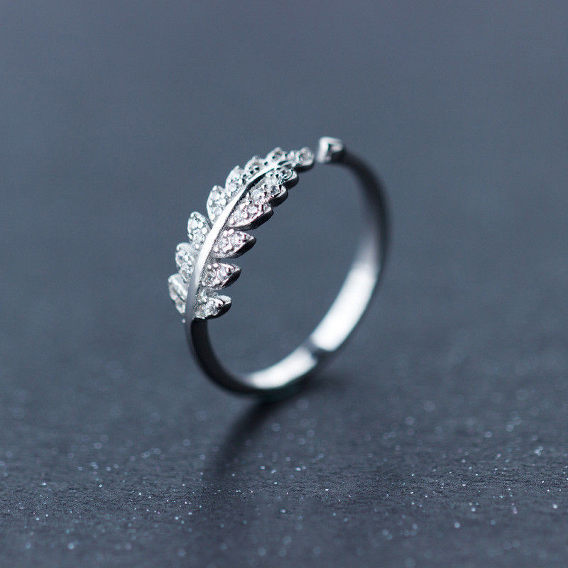 925 Sterling Silver Leaf Branch Rings For Women Jewelry Shiny Paved Diamond Leaf Resizable Ring