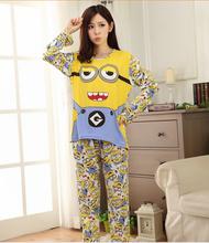 New 2015 Spring Autumn pyjama femme home clothing pigiami cotone pijamas mujer  pijama feminino pijama entero  manga larga yelow
