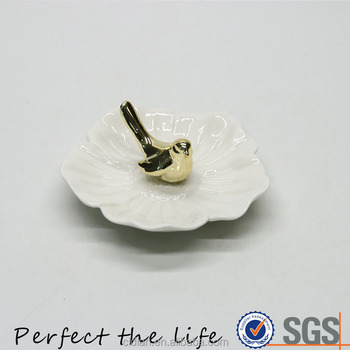 Ceramic design jewelry plate with Golden bird