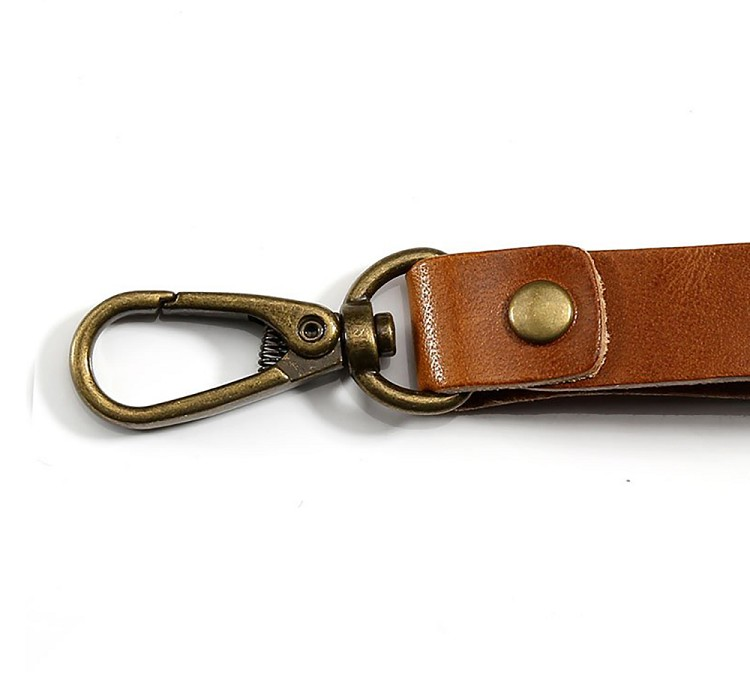 Personalized custom leather key chains branded retro vintage bronzed ring golden brown top grain leather compact key organizer