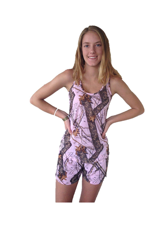 Mossy Oak Pink Racerback Tank Top + Casual Shorts 2PC Set Juniors Ladies S-XXL (Mossy Oak Break Up Pink Camo, Small JUNIORS)