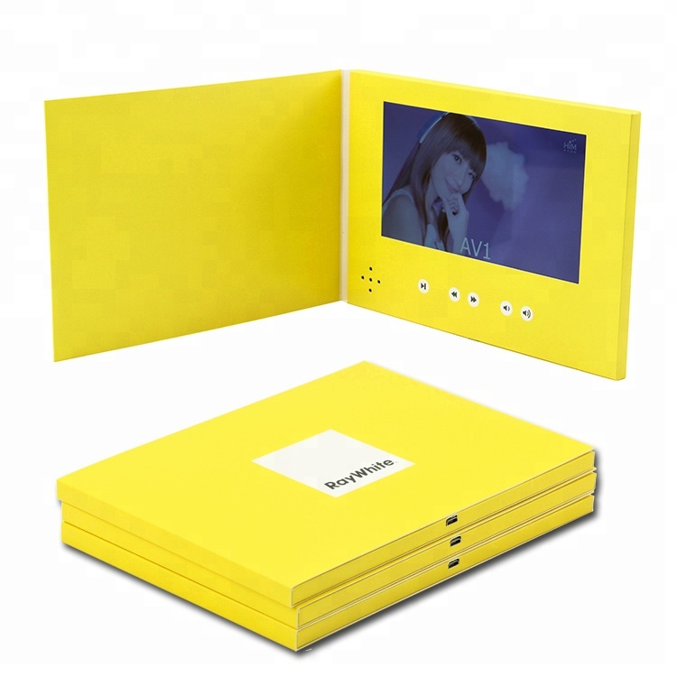 Promotionele reclame video brochure lcd video cadeau kaarten digitale tft scherm uitnodiging lcd video wenskaart voor marketing