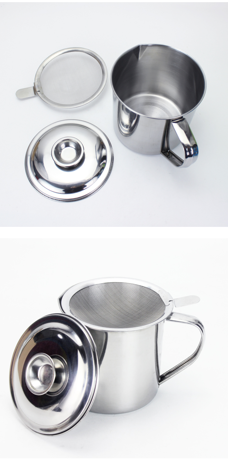 new design self oil control metal with strainer stainless steel filtering cup