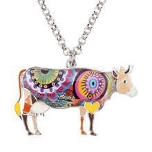 Женская эмалированная цепочка Bonsny, кулон из сплава в форме коровы с цветком, украшение для животных, аксессуары для женщин и девочек(Китай)