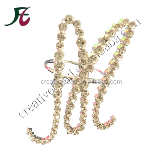 Latest Design Fashion Letter M Rhinestone Napkin Rings