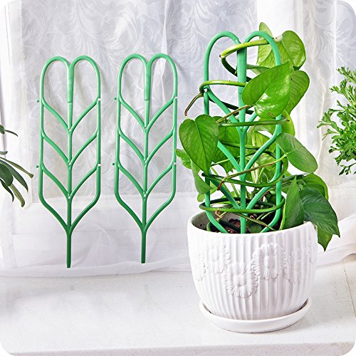"Garden Trellis For Mini Climbing Plant Pot Support Leaf Trellis 4""W x 11.7""H 3 Pack Green"
