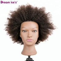 2019 factory cheap wholesale styrofoam afro female mannequin training heads with short human hair for student practice