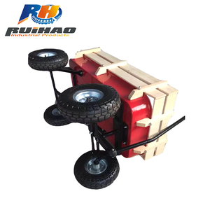 Pulling Four Pneumatized Wheels Wooden Baby Toy Wagon
