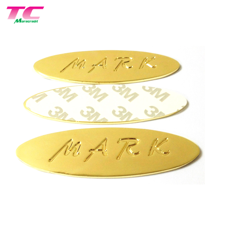 Customized Embossed Logo Color Adhesive Label Personalized Vintage Metal Name Sticker For Cup