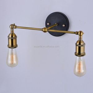Retro Brass Iron E27 Bare bulb lamp holder Double Head wall lamp