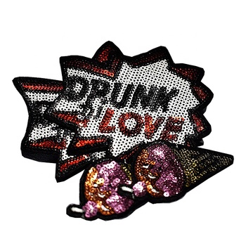 Popular New Design Custom Embroidered Sew On Shiny Bead Patch For Garment