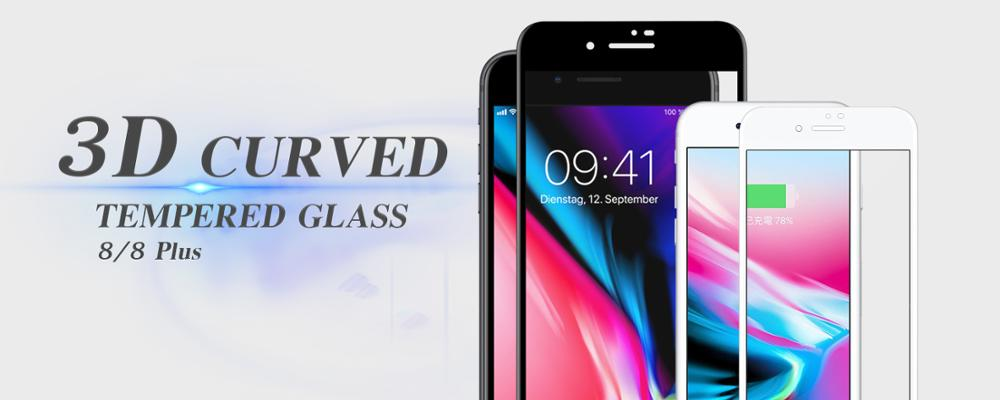 HD clear full cover 3d 9h 0.33mm anti fingerprint premium tempered glass screen protector for iPhone 8/ 8 Plus