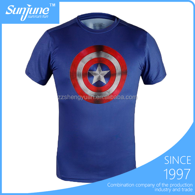 Custom logo slim fit dry-fit sublimation compressed t shirt