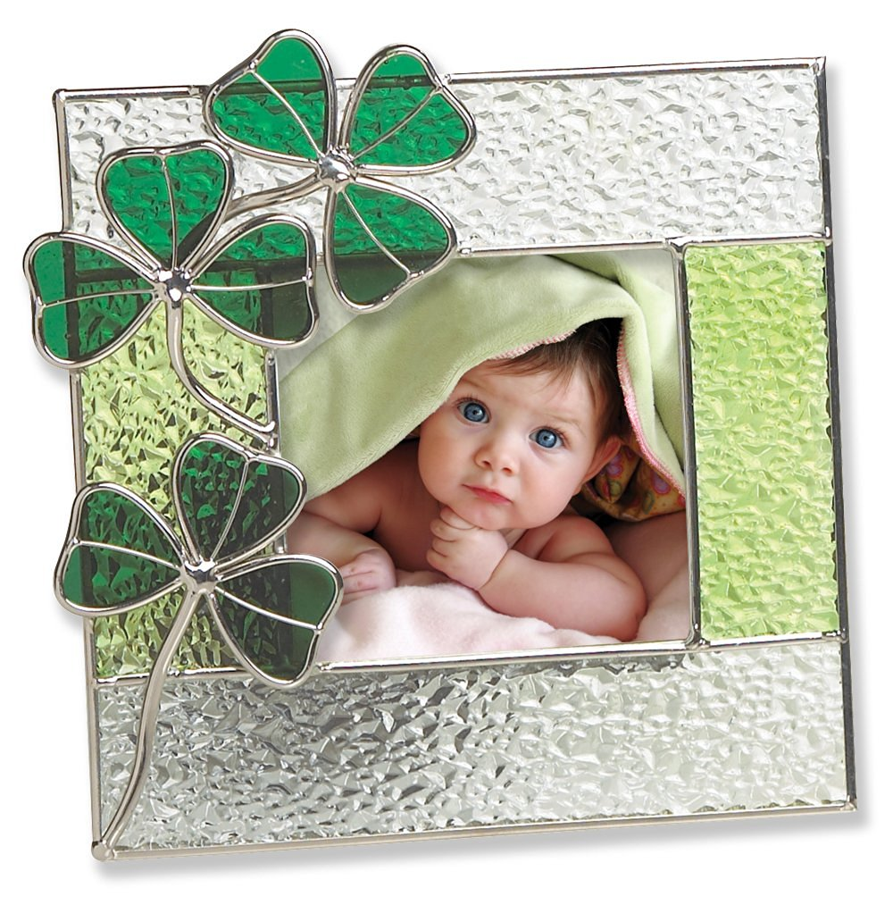 Irish Picture Frame - Stained Glass Picture Frame with Green Shamrocks - Irish Gift - Irish Picture Frame for Baby - Irish Picture Frame for Family - Irish Wedding - Ireland Vacation Pictures