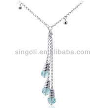 Newest Fashion Women Upscale Austrian Crystal Jewelry Necklace Tassel Bulb pendant necklace