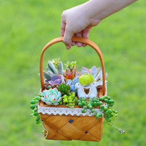 Factory Wholesale Square Wooden Gift Candy Basket With Handle