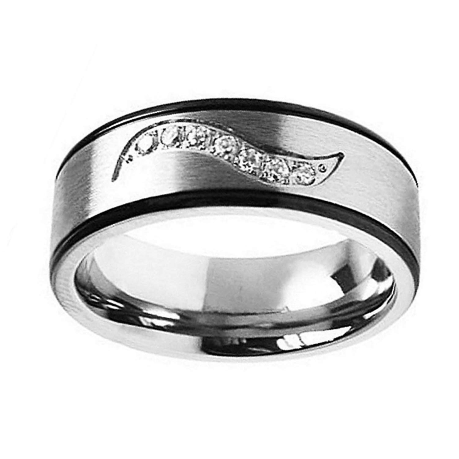 Personalized Inside Engraving Titanium Wedding Band Ring 7mm CZ on Wave Groove Black Edge Ring