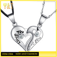 Cheap 925 sterling love you half heart personalized pendants necklace(AN-019)