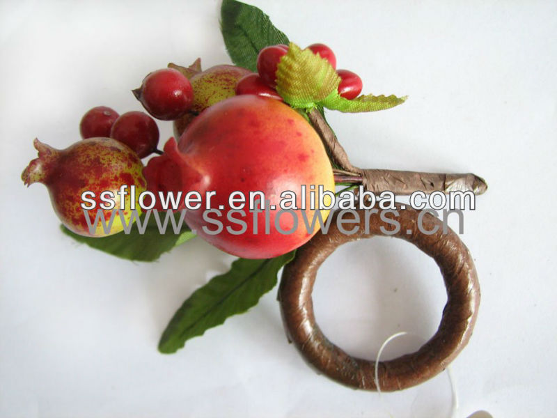"2011 New Artificial Flower Silk Flower 1.7"" Acrylic Napkin Ring with Artificial Fruit"
